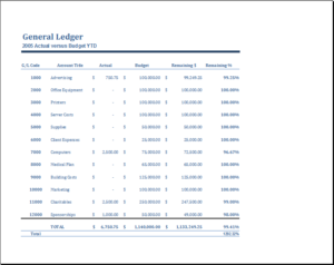 General Ledger Template DOWNLOAD At Http://www.templateinn.com/25