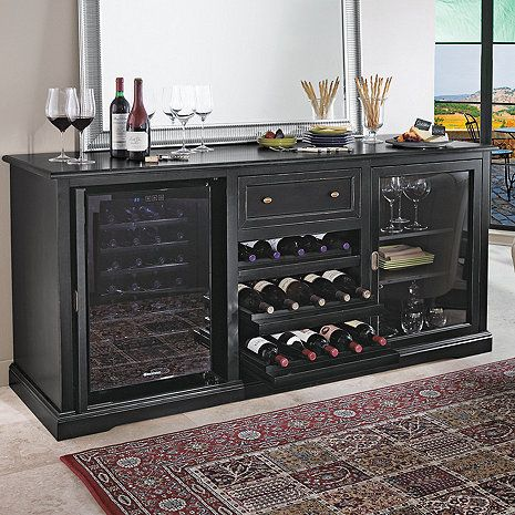 Siena Wine Credenza Nero with Wine Refrigerator