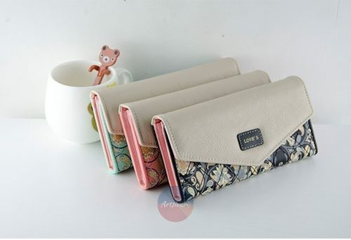 Stylish-Fashion-Women-Leather-Bifold-Wallet-Ladys-Clutch-Floral-Card-Holders
