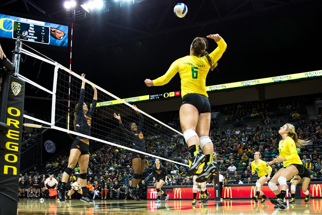 Outside Hitter Liz Brenner 6 Goes Up For The Spike In The Second Set Emerald Archives Oregon Basketball Court Two By Two