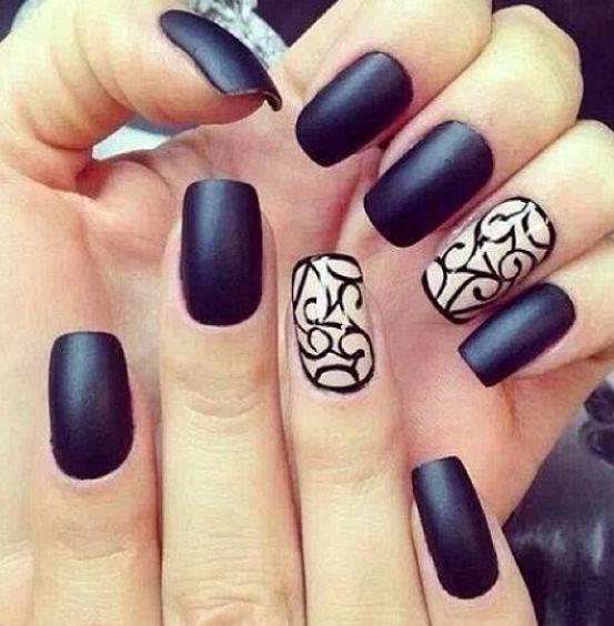 black beige matte cute nails   Nails   Pinterest   Black nails, Hair ...