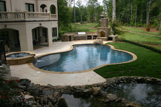 Freeform Style Pool with Fireplace