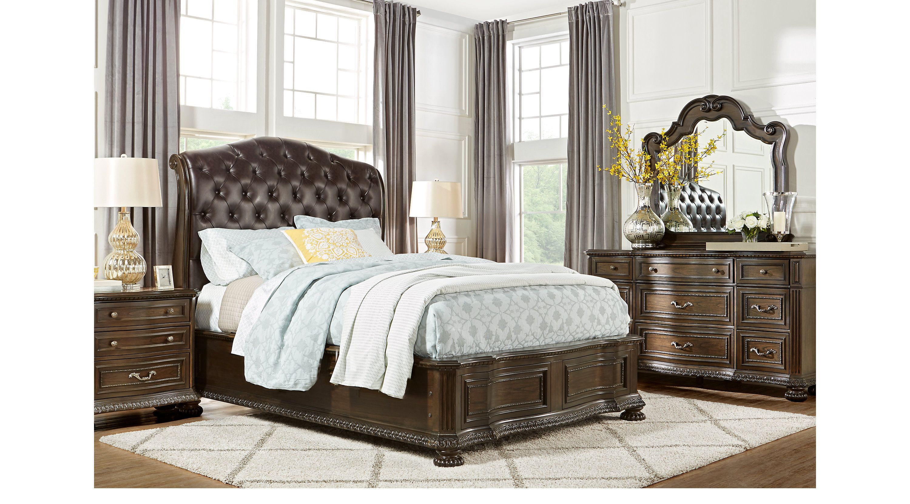 Whittington Cherry 5 Pc Queen Sleigh Bedroom | King size ...