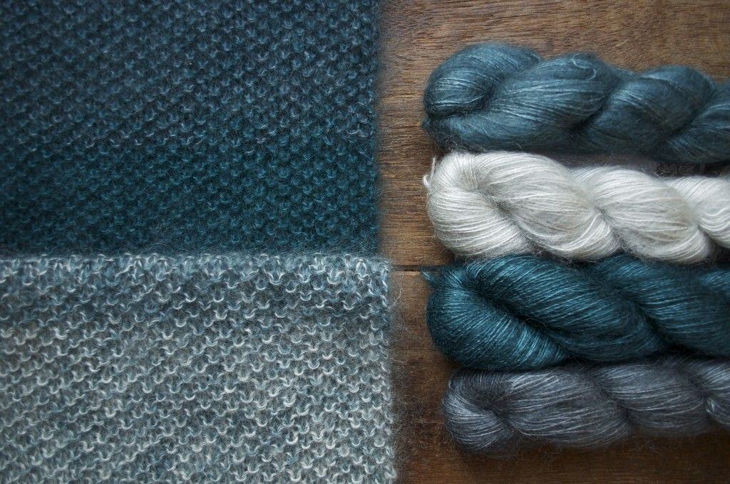 Shibui Silk Cloud, Gradient Cowl (top- bottom) Fjord, Ash, Cove and ...