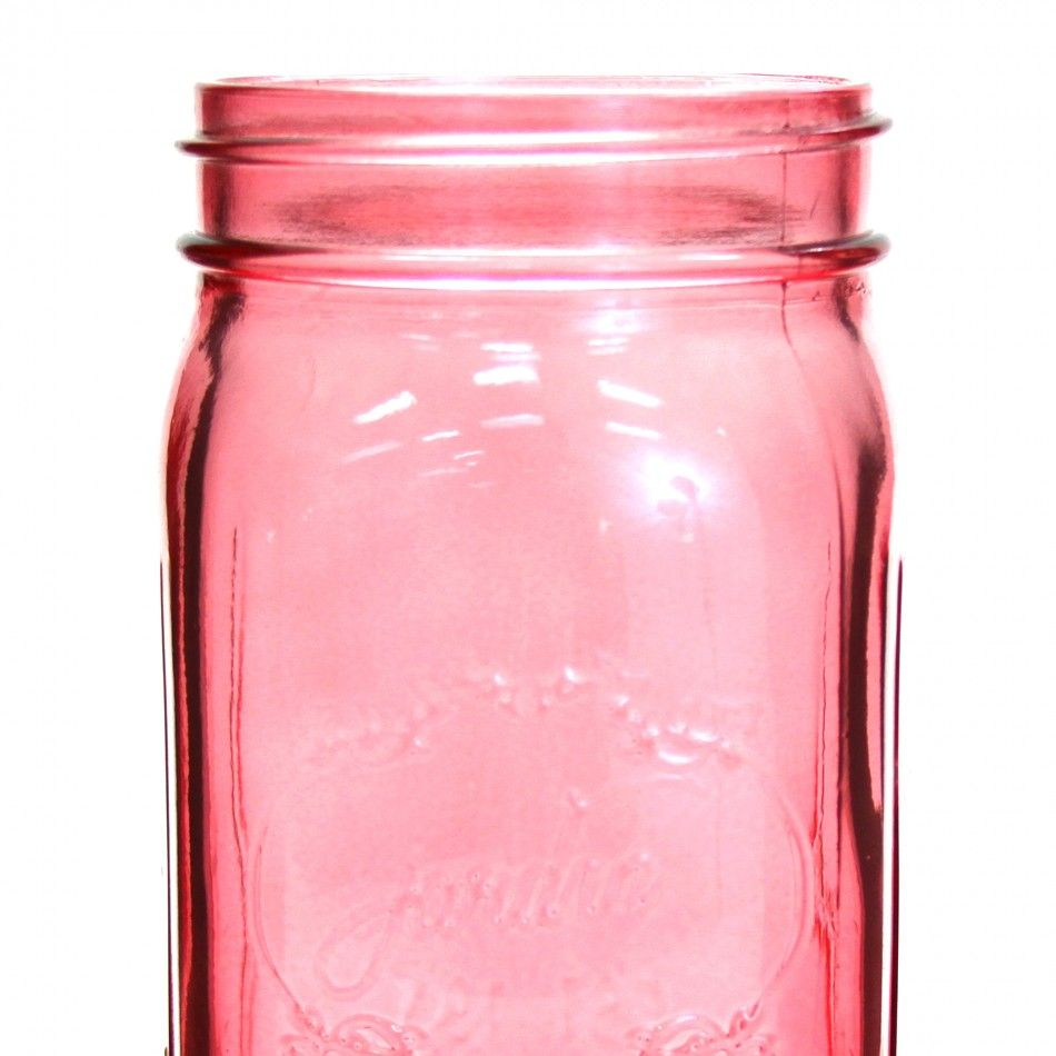 24 oz Colored Mason Jars - Pink [24 oz Pink Vintage Mason Jars ...