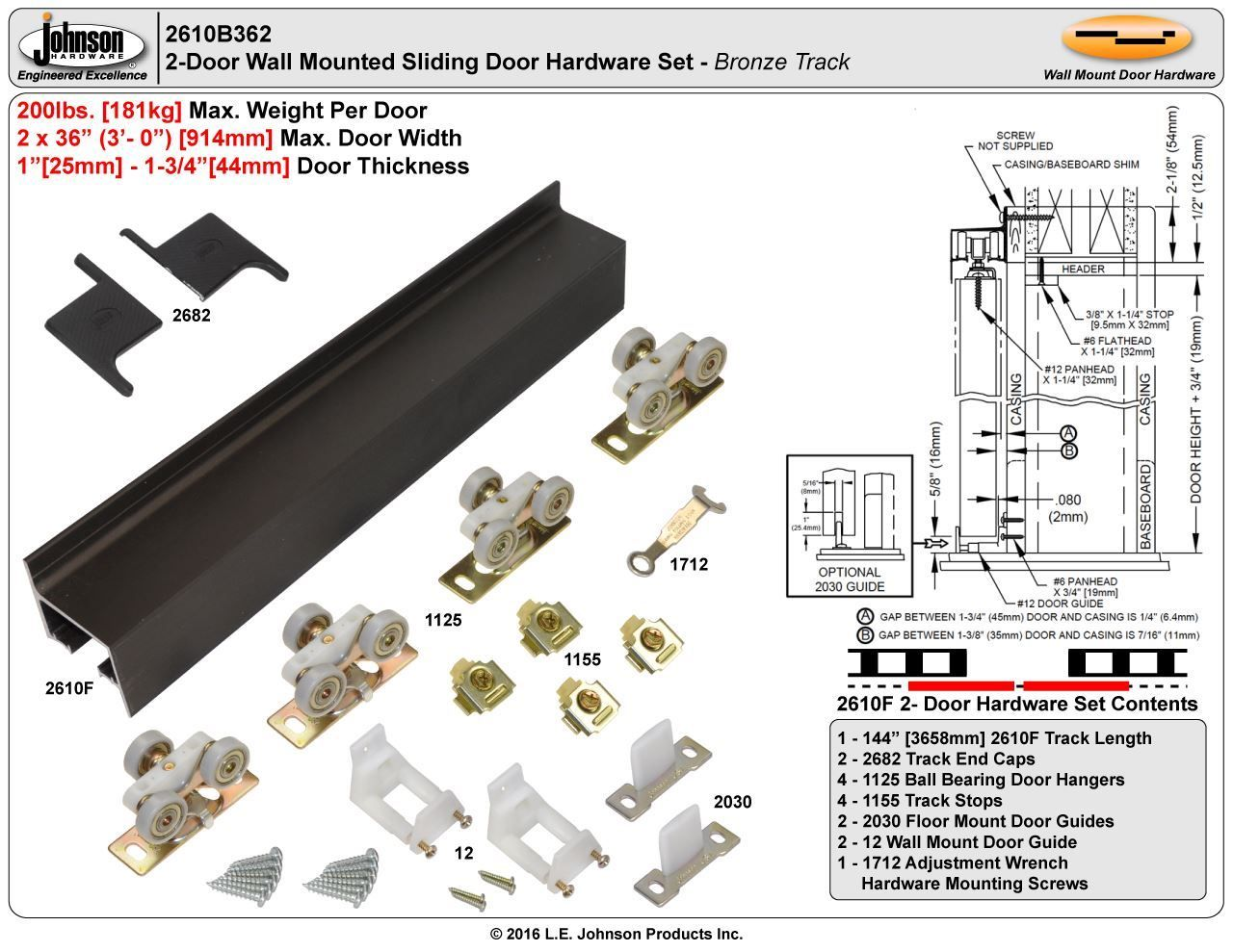 Picture Of 2610fb 36 2 Door Hardware Set Bronze Track Home