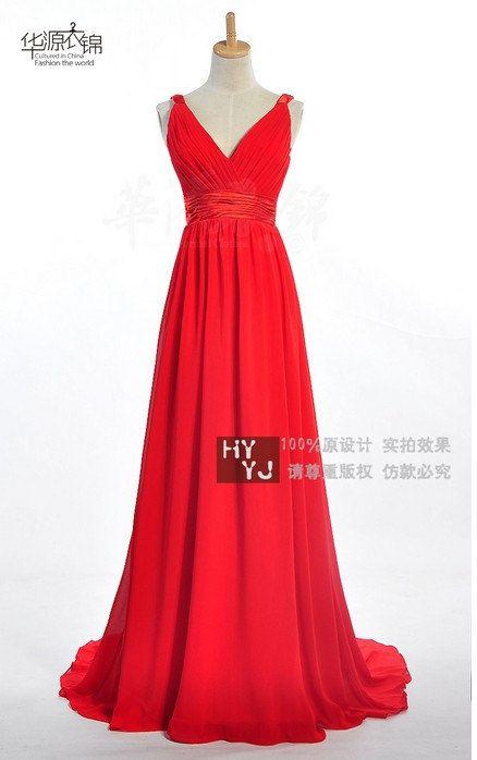A-line V-neck Sweep/Brush Train Chiffon Bridesmaid Dress With Criss-Cross Bodice. $158.00, via Etsy.
