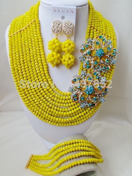 Exclusive Brooches Lemon Yellow Crystal Nigerian Beads Necklaces African Wedding Beads Jewelry Set CPS4814 $68.32