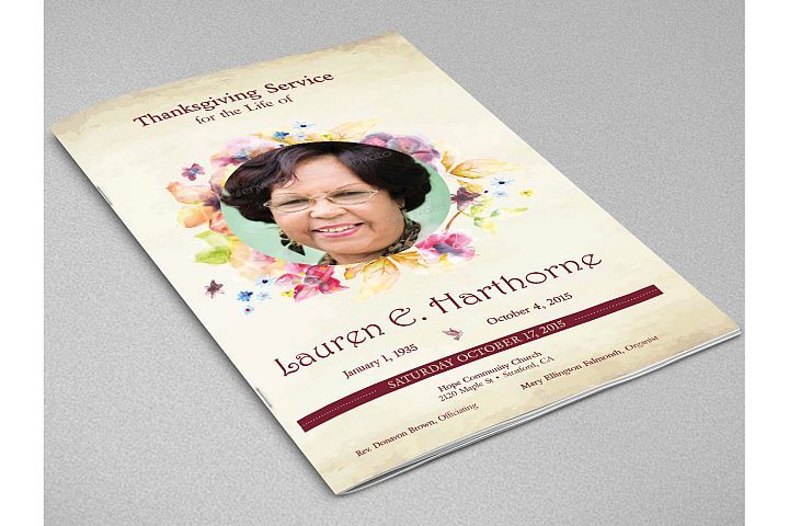 Watercolor Funeral Program Indesign Template from DesignBundles ...