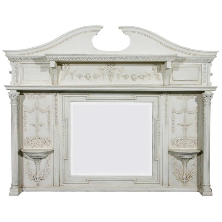 English Edwardian Period Neoclassical Style Painted over Mantel Mirror #edwardianperiod