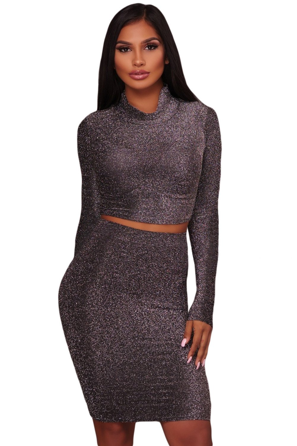 Black silver shimmer two piece dress womens fashion pinterest