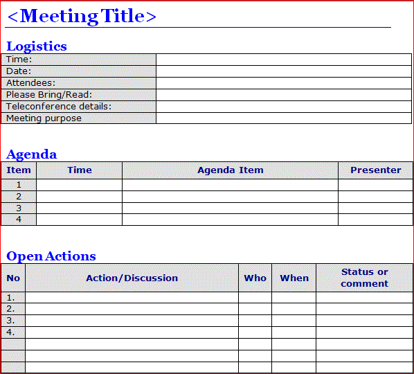 Minutes Of Meeting Template Word  Projectemplates  Excel Project