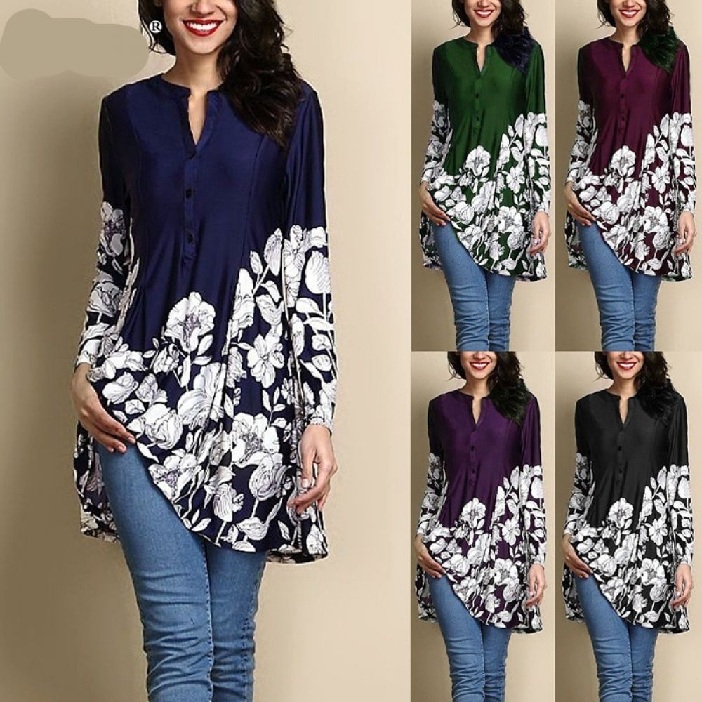 New Casual Cotton Womens Long Sleeve Blouse Flower Print For Maternity T-Shirt