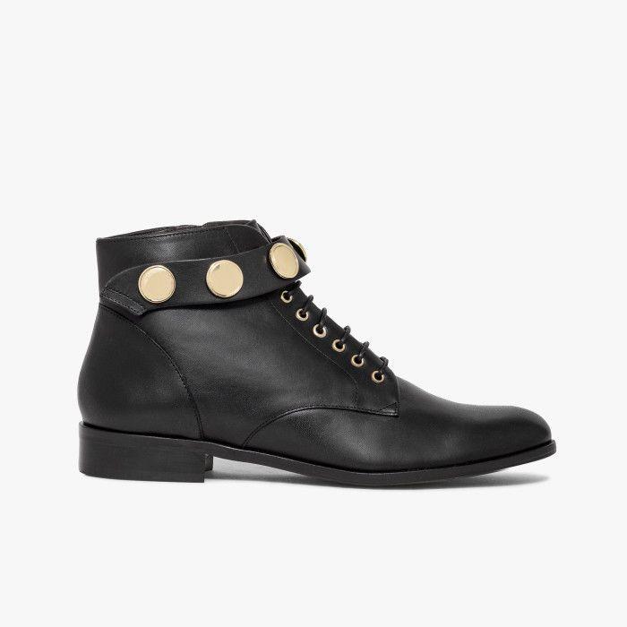 dorés lisse amovible boutons à avec Boots cuir bride noir en Yfygb76