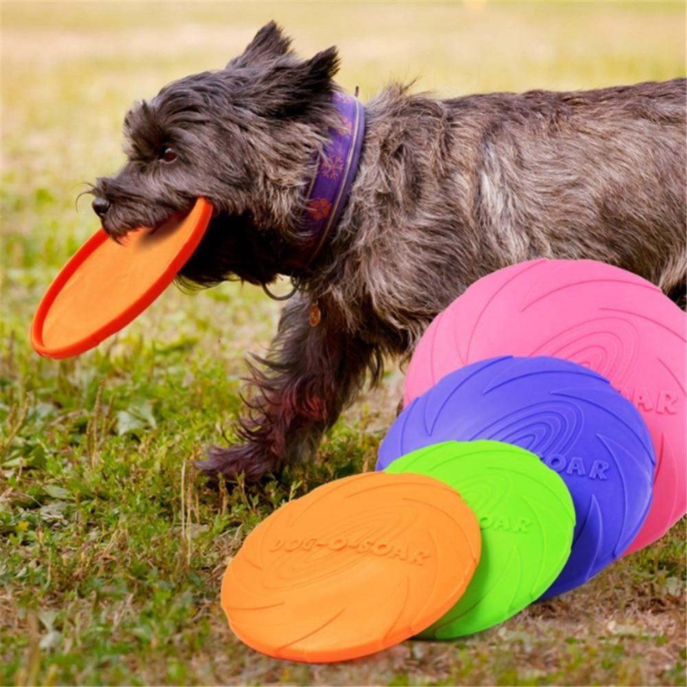 Rubber Flying Fetch Dog Toy Frisby Disk Stimulating Dog Toys