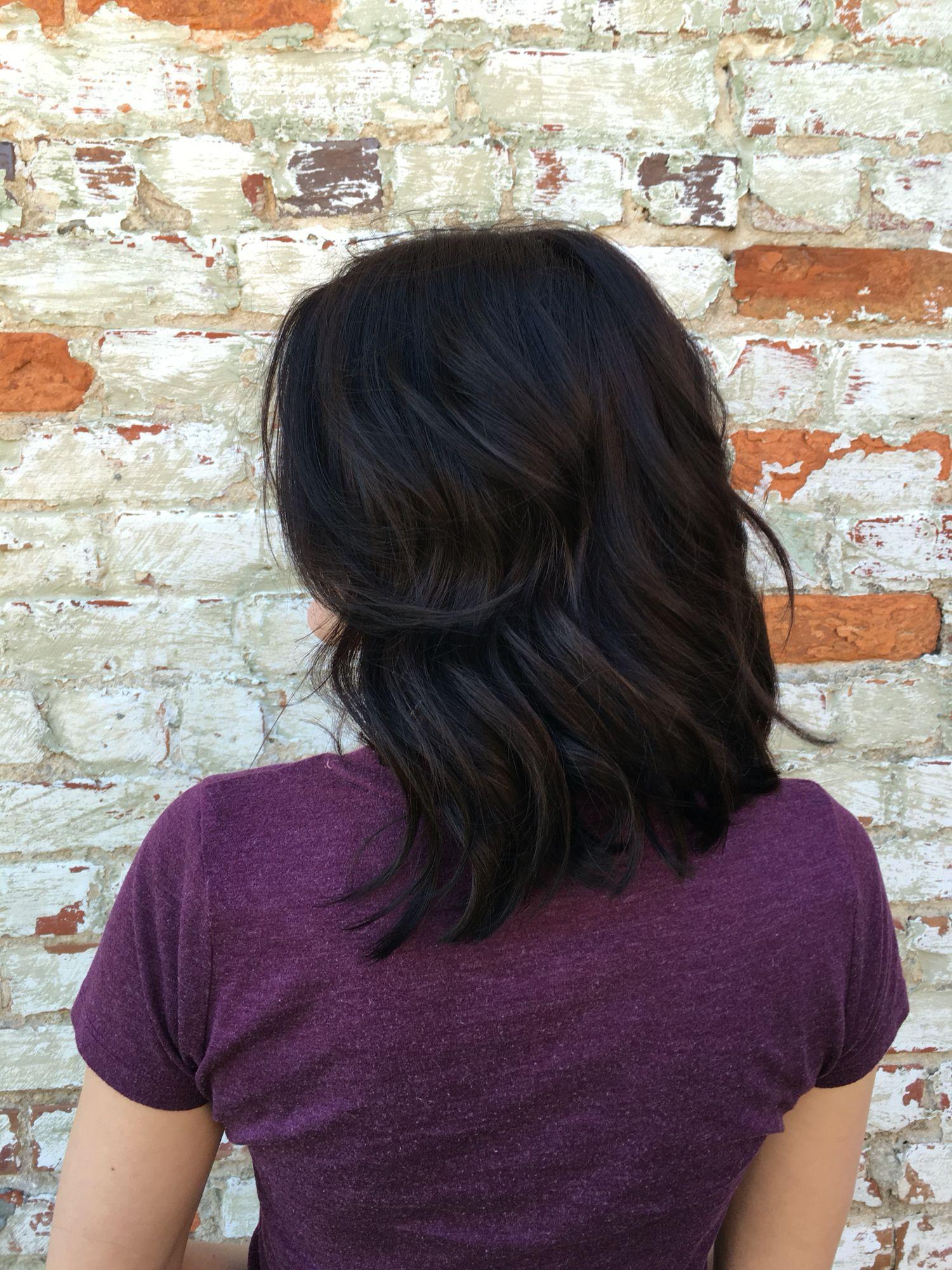 Warm chocolate brown and a fresh new lob | Balayage | Hair, Hair ...