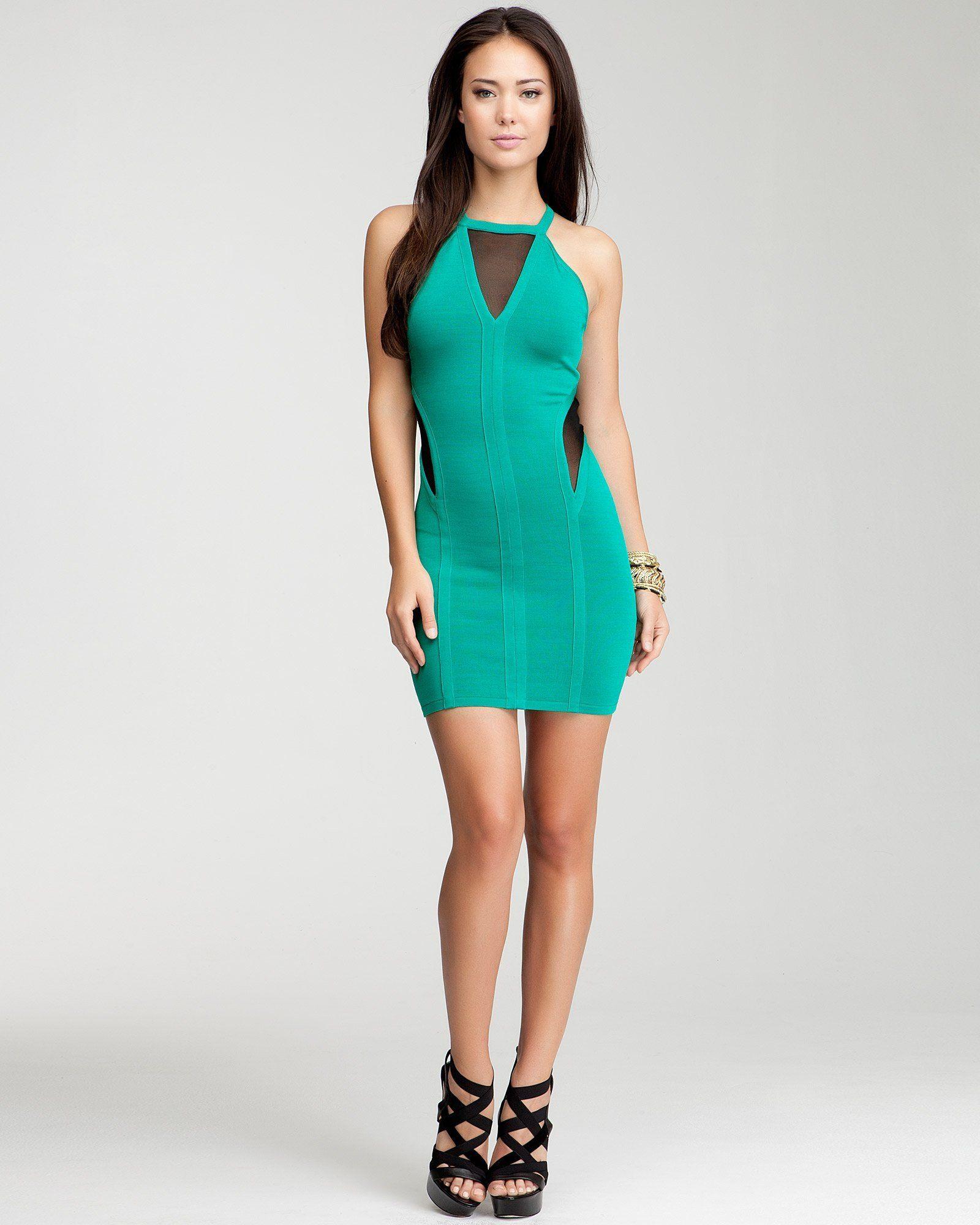 Bebe - Mesh Cutout Halter Dress - jungle green | My Style ...