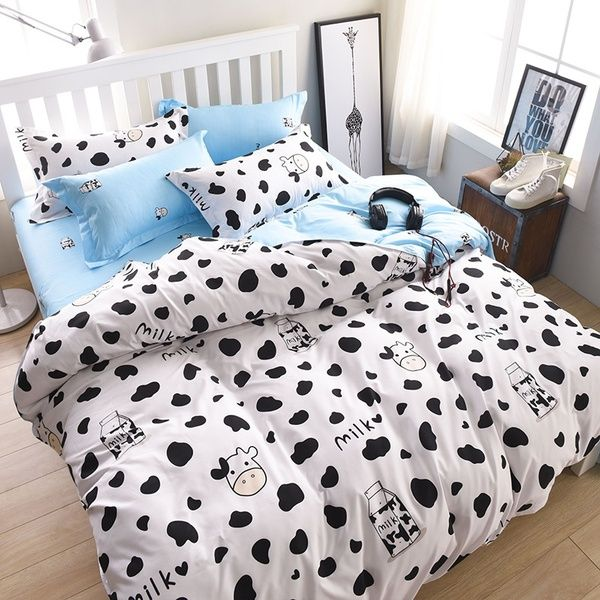 Dairy Cow Pattern Bed Pillowcases Duvet Cover Set Quilt Cover Set Twin Queen King Size Blue And White Wish Duvet Bedding Sets Full Bedding Sets Bedding Sets