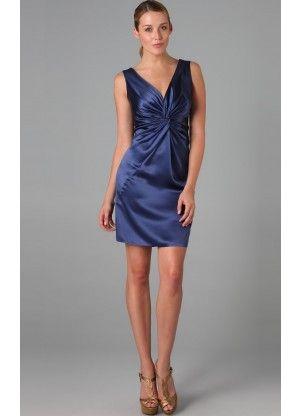 Affordable Mini Sleeveless Satin Column V-neck Cocktail Dresses - Wedding Dresses