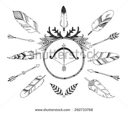 Hand drawn tribal collection with arrows and feathers for design logo, invitation and more. Vector tribal frame, ethnic, aztec elements isolated on white background