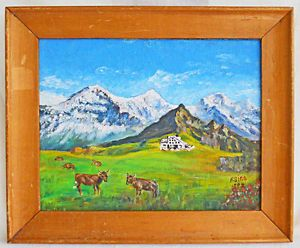 Fredy Sigg Fredy Sigg Original Painting Vintage 1982 Swiss Alps Cows Pasture