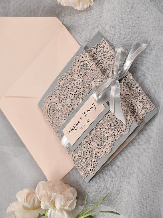 Custom listing 100 Grey and Peach Lace por 4invitationwedding