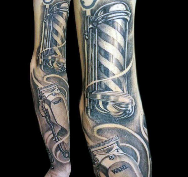 Sleeve Mens Clipper And Pole Barber Tattoos | x ...