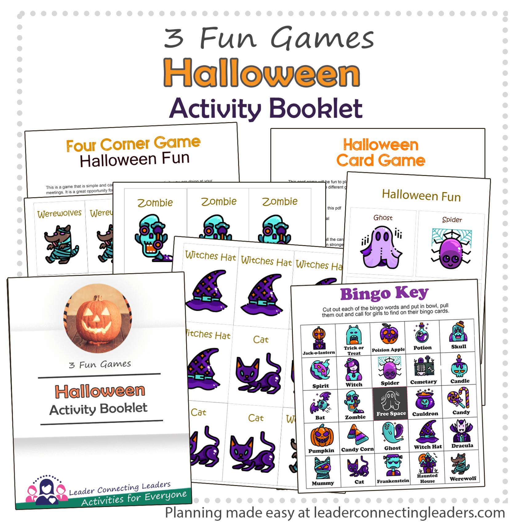 Halloween Bingo Card And 4 Corner Game Activity Booklet