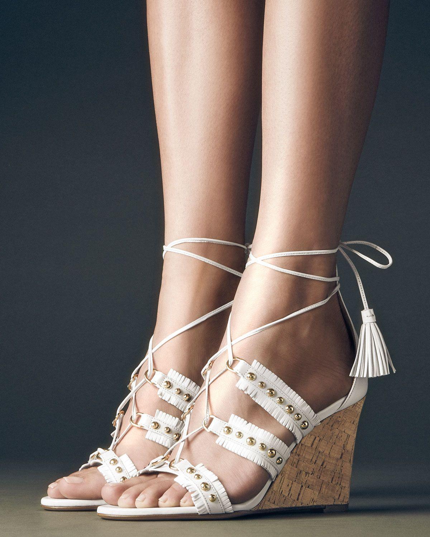 e36416687aeda Aquazzura Tulum Studded Fringe Wedge Sandal