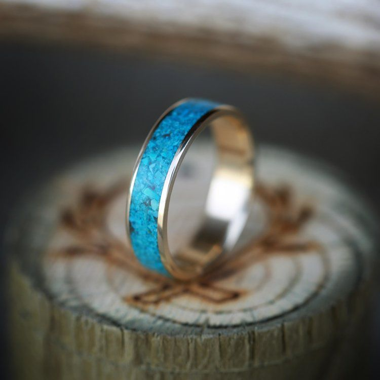 Men S Turquoise Wedding Band On 10k Yellow Gold By Staghead Designs Turquoise Wedding Band Yellow Gold Wedding Band Mens Wedding Rings