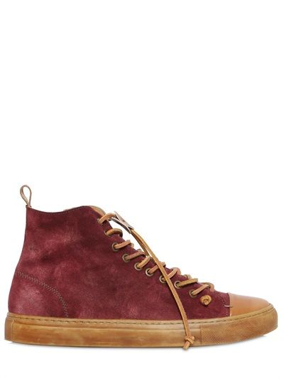 DINO DRAGHI - WAXED SUEDE & LEATHER HIGH TOP SNEAKERS - LUISAVIAROMA -  LUXURY SHOPPING WORLDWIDE