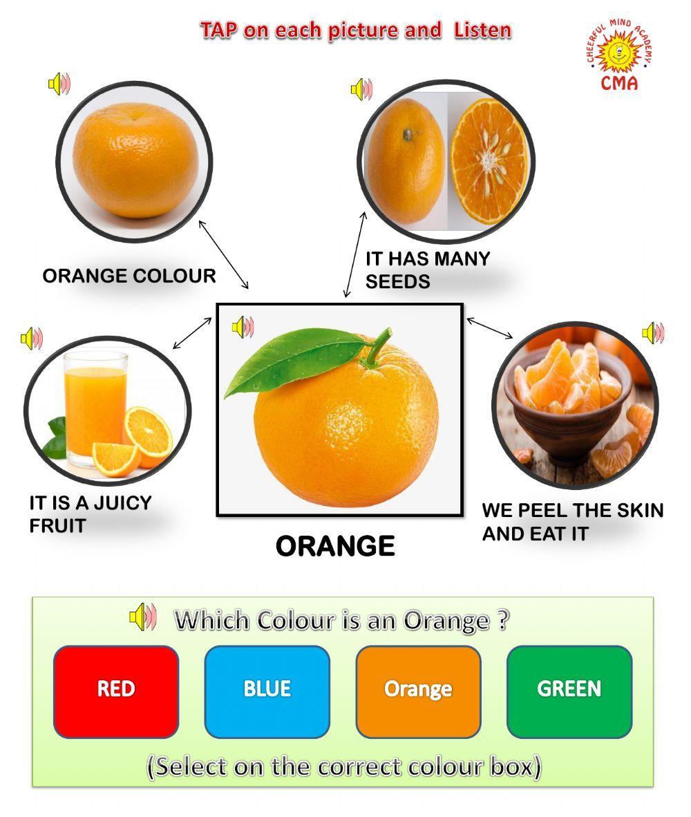 Fruit Orange Interactive Worksheet Color Worksheets For Preschool Color Worksheets Worksheets [ 1182 x 1000 Pixel ]