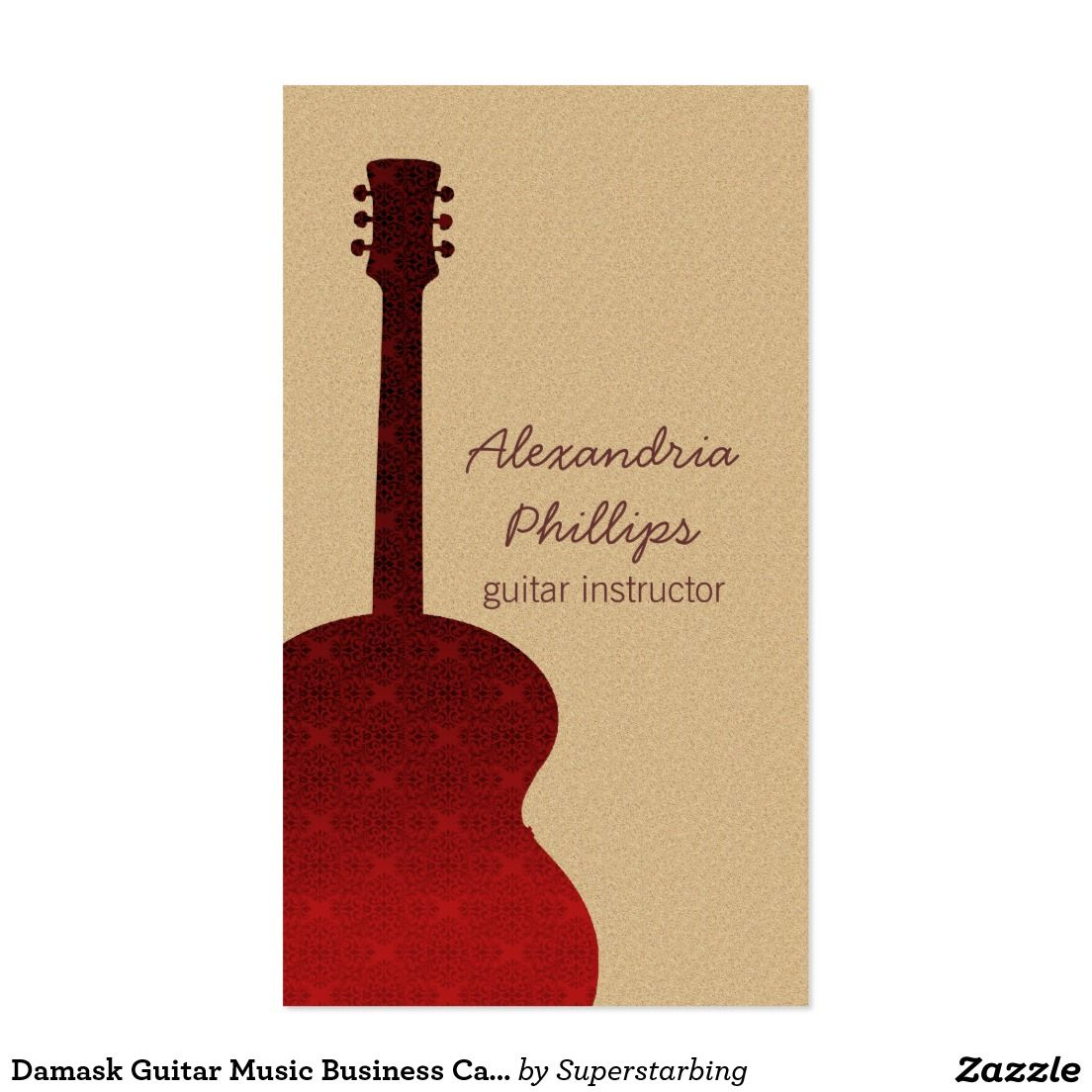 Damask guitar music business card red business card