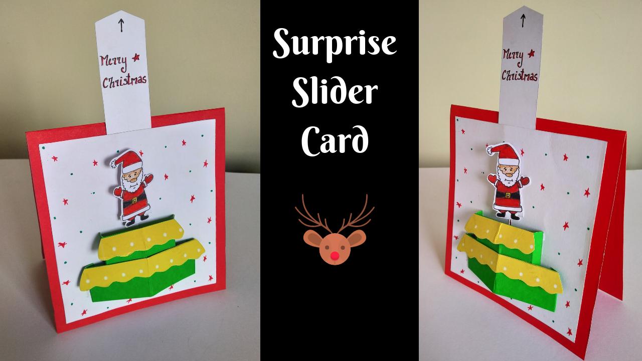 Surprise Slider Card For Christmas Santa Handmade Card Diy Slider Cards Cards Handmade Diy Cards