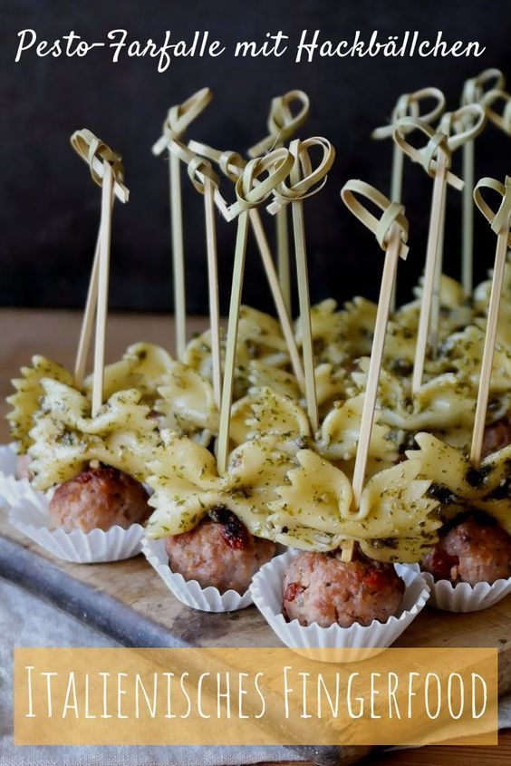 Italian finger food: small foccacia, meatballs with pesto noodles and pr ... Check more at ht...