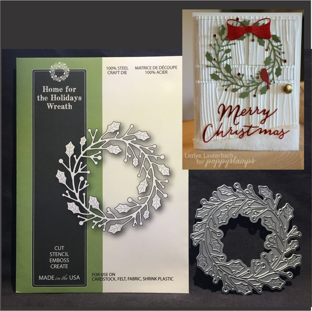 Home for the Holidays Wreath metal die Poppystamps cutting dies 1646 Christmas #Poppystamps