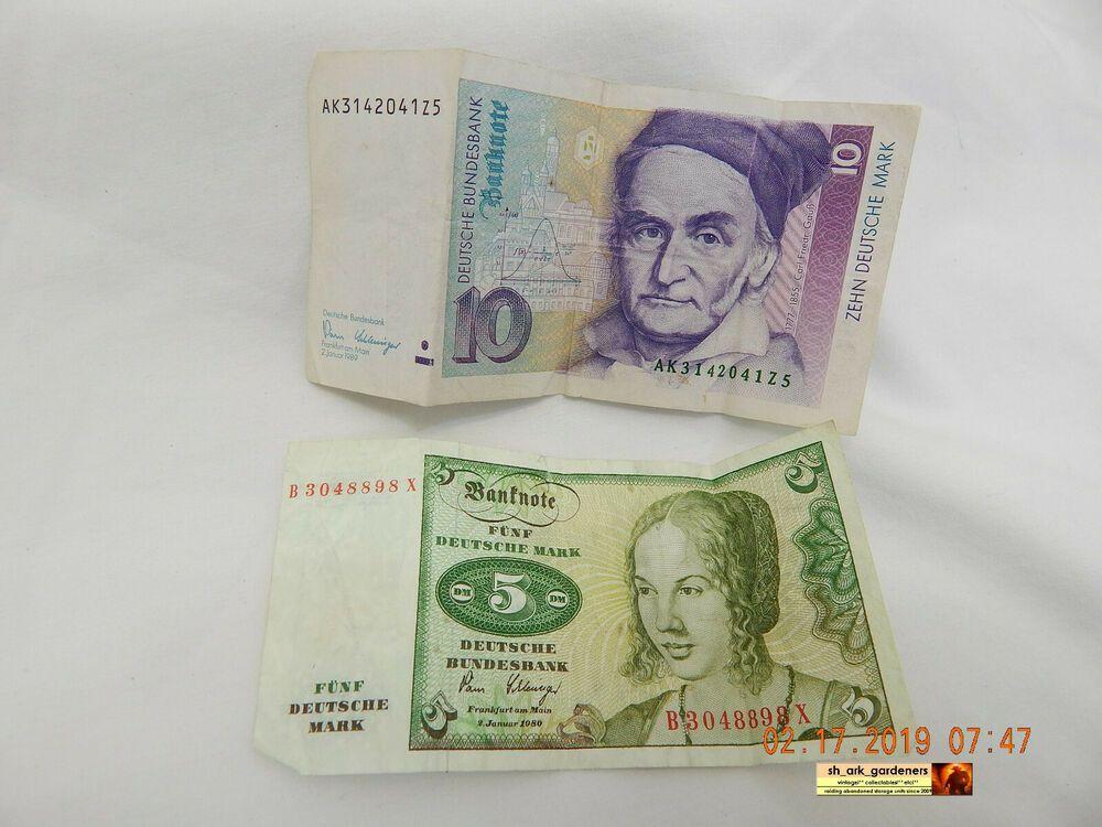 DEUTSCHE BUNDESBANK BANKNOTES10 & 5MIX OF TWOIN