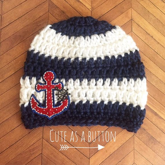 7b13b180f16d9 Baby boy crochet hat crochet nautical hat baby boy crochet