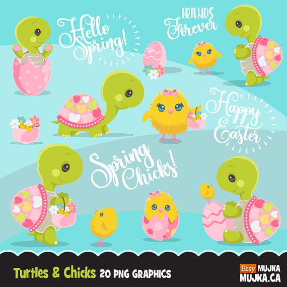 Easter Turtle And Chicks Clipart Cute Spring Graphics Etsy Clipart Cute Spring Graphics Turtle Clipart