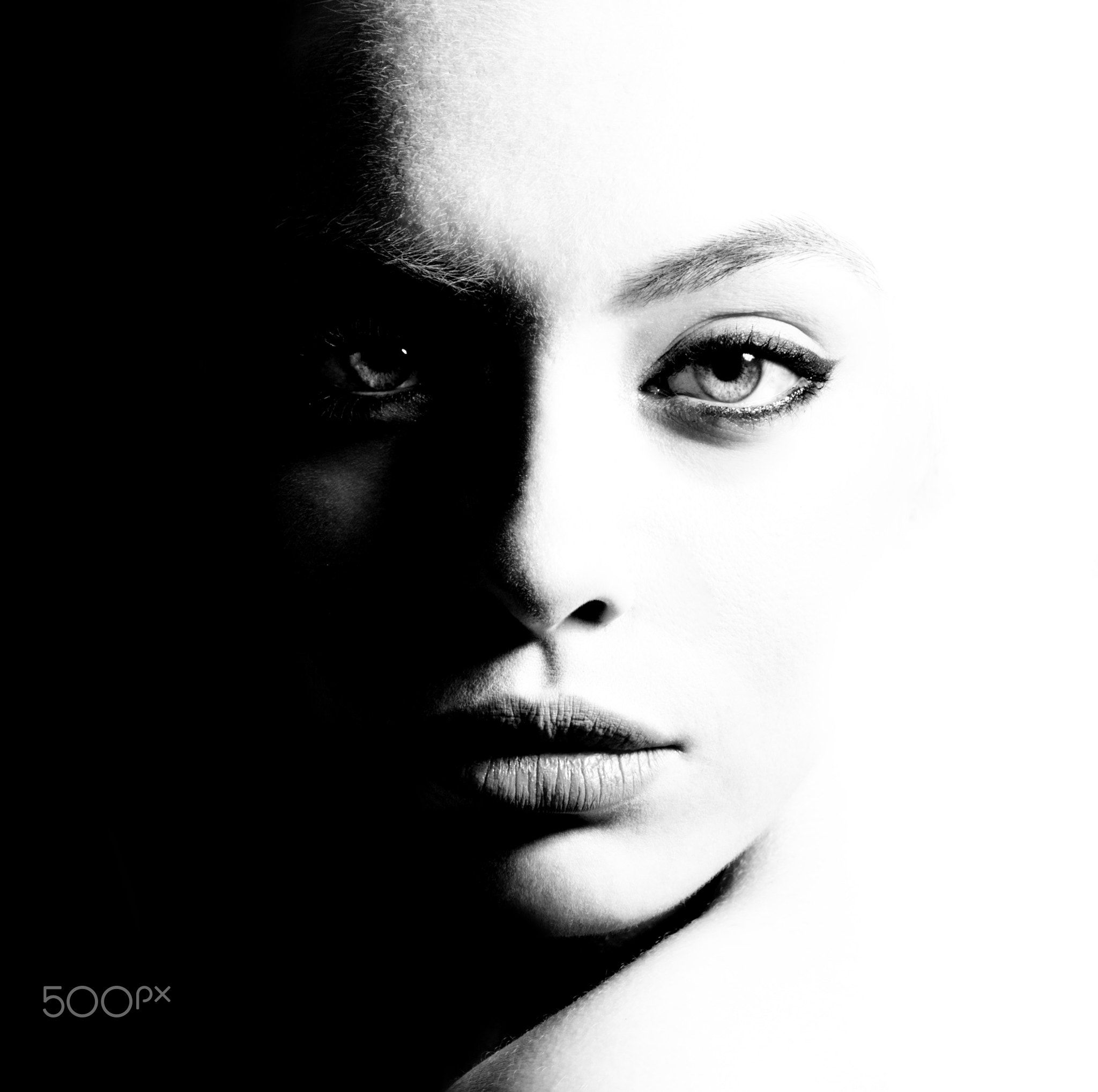 High contrast black and white portrait of a beautiful girl high contrast black and white portrait of a beautiful girl femininity and beauty free space