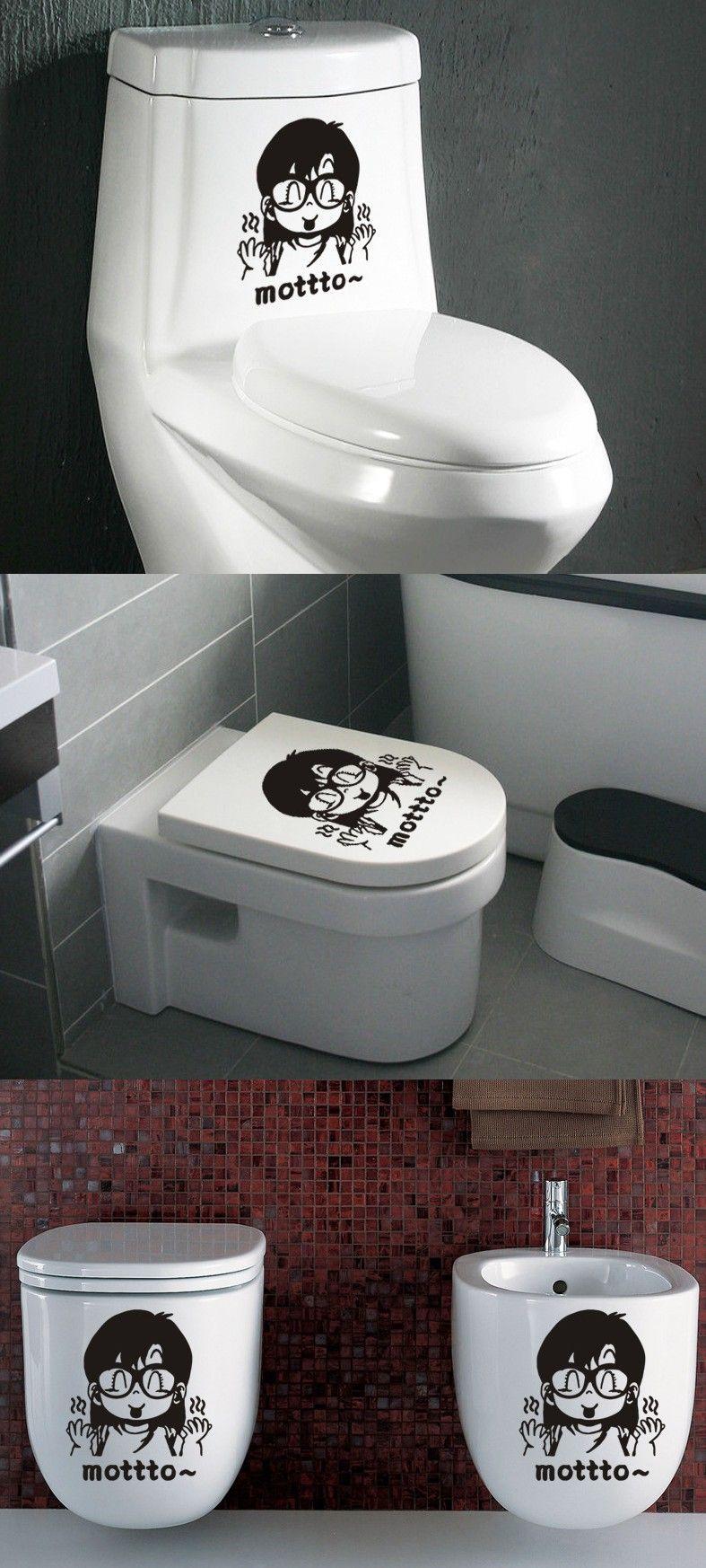 M1-11 fashion cute glasses girl toilet sticker removable PVC Scrubs transparent factory direct home decoration $2.99