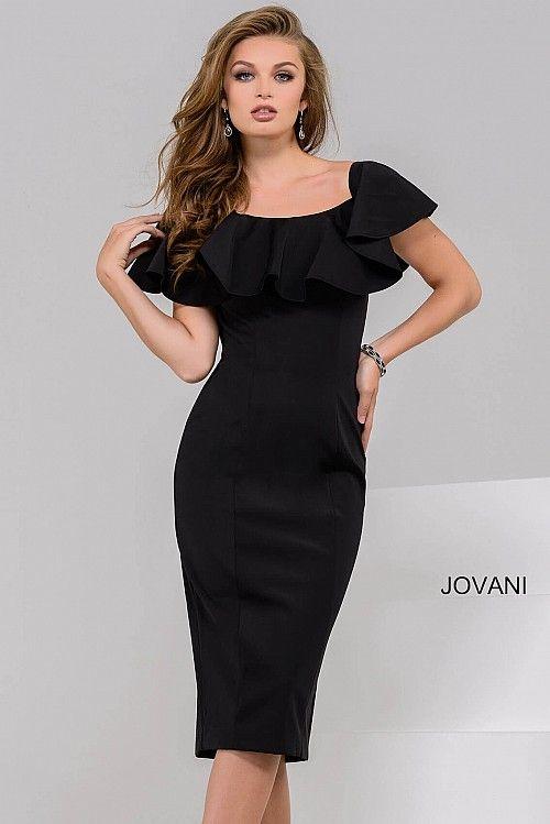 Black Fitted Knee Length Cocktail Dress 40301 Cocktail Dresses