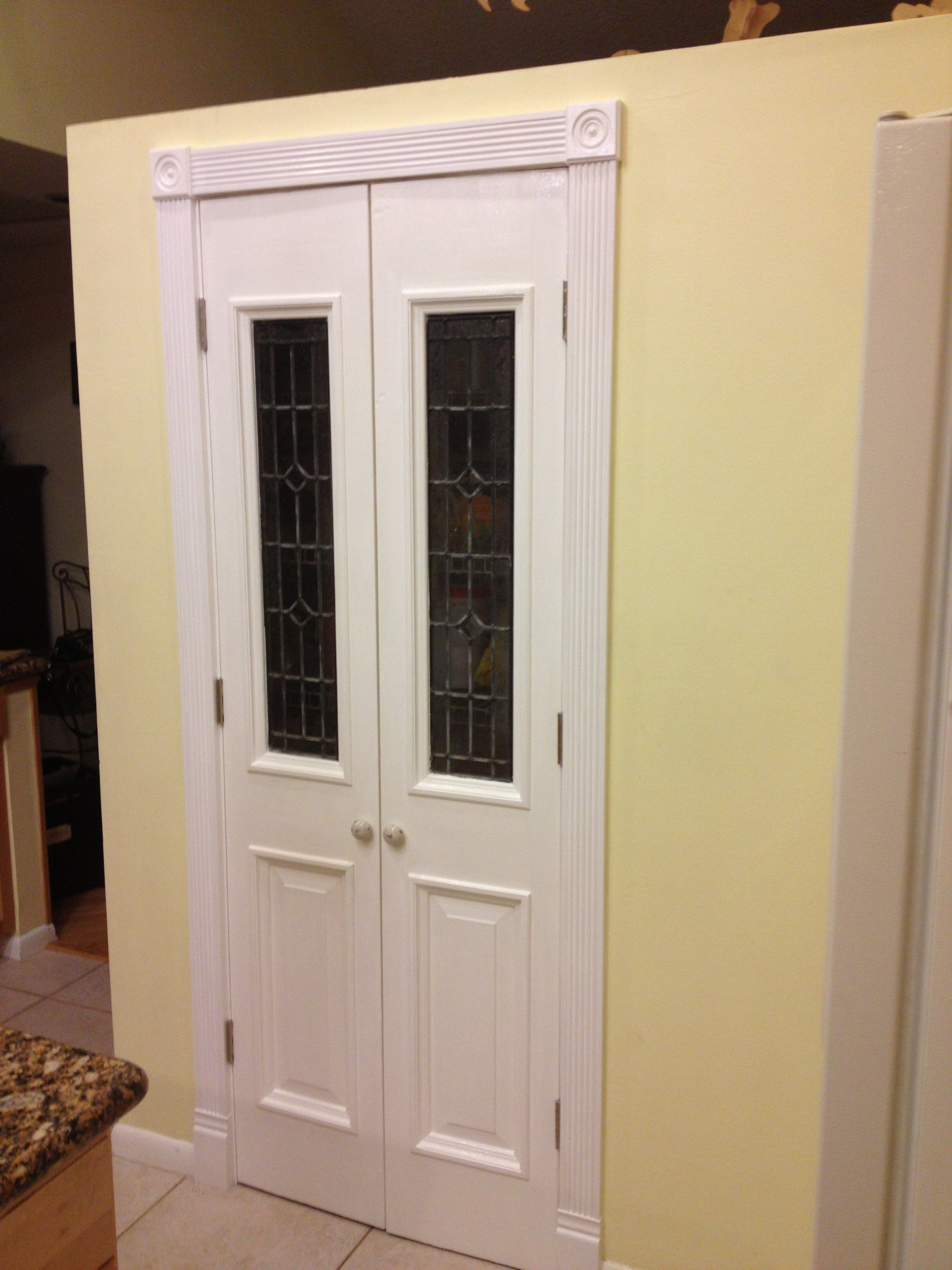 Kitchen pantry doors. Found glass pieces at Habitat for ...