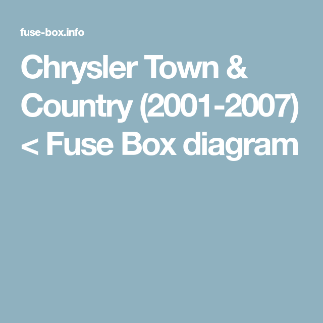 Chrysler Town Country 2001 2007 Fuse Box Diagram Chrysler Town And Country Fuse Box Town And Country