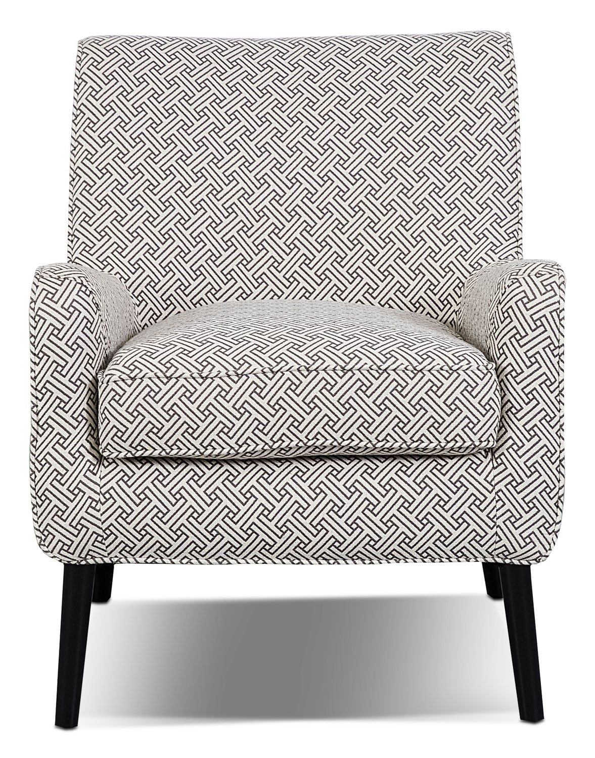 $699.97 Grimsby Accent Chair. Covered In Cream Coloured Linen Like  Upholstery, With A Dark Grey Pattern