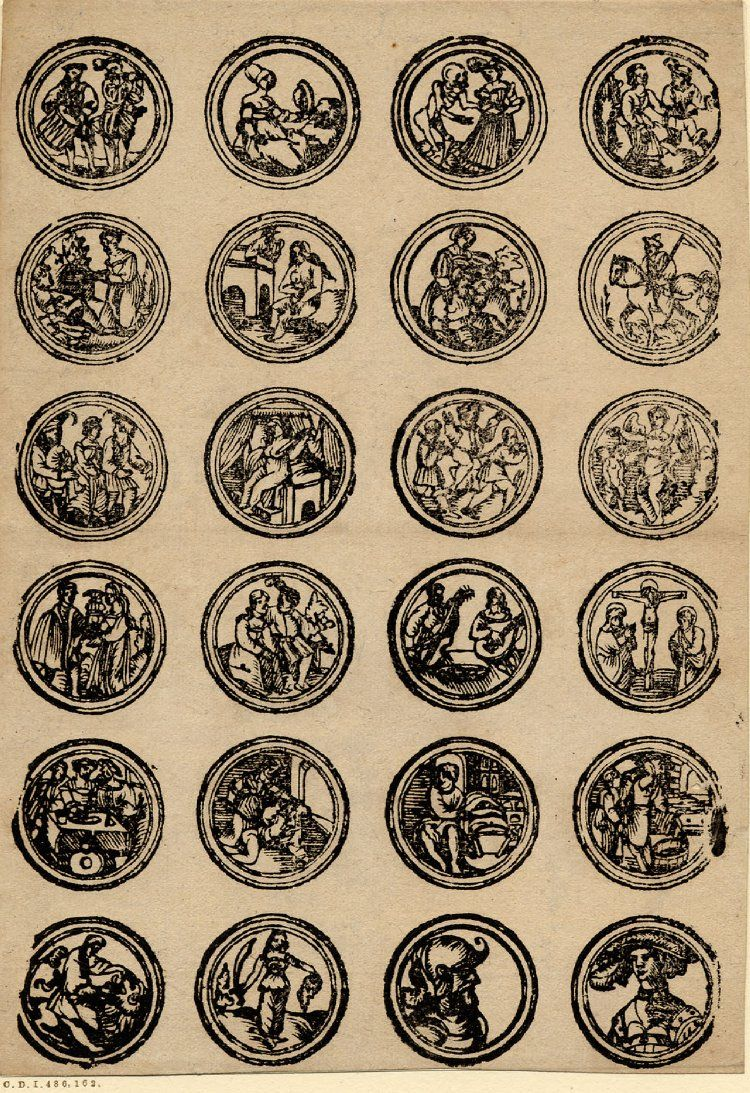 Decoration for #backgmamon pieces Small round scenes from the Old Testament, classical mythology and daily life. Sheet with 24 subjects in fourfold borders, arranged in six rows of four subjects each. Some reverse copies of designs from 1880. Woodcut