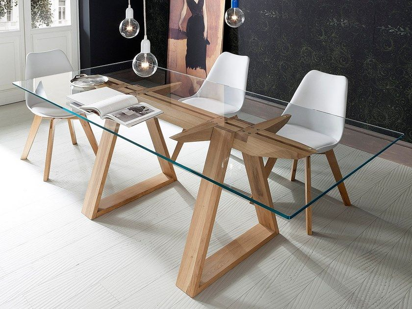Awesome Rectangular Glass Top Dining Table And Wooden Table Legs