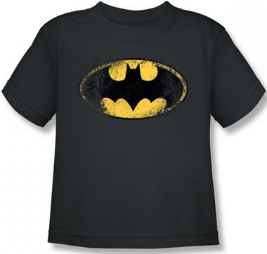 Batman Distressed Yellow Classic Logo Infant Baby Grey T Shirt New Official