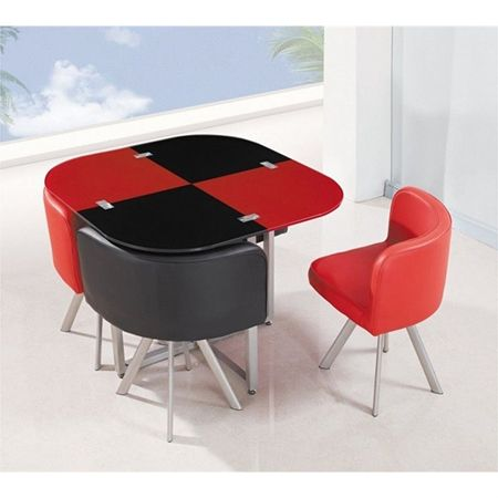 Emma 5 Piece Dining Set Red Black Metal Leg Dining Table