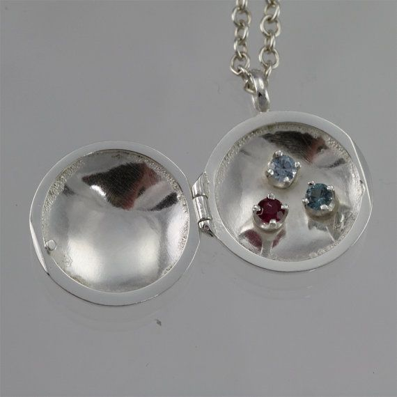Mother Locket w3 Stones 24 Made to Order by LaineBenthalldesigns, $196.00
